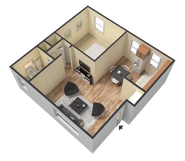 1 Bedroom 1 Bathroom. 625 Sq. Ft. 3D Furnished