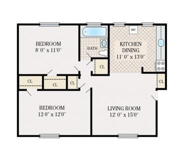 2 Bedroom 1 Bathroom. 700 sq. ft.