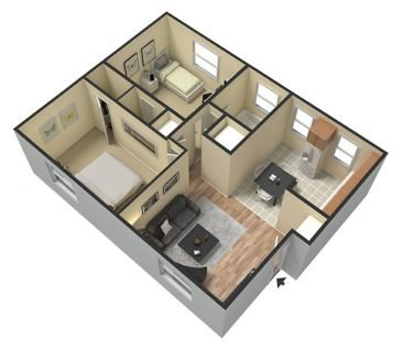 2 Bedroom 1 Bathroom. 700 sq. ft.  3D Furnished