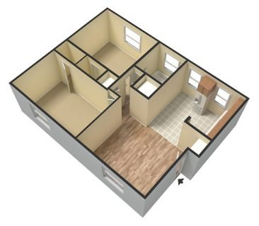 2 Bedroom 1 Bathroom. 700 sq. ft.  3D Unfurnished
