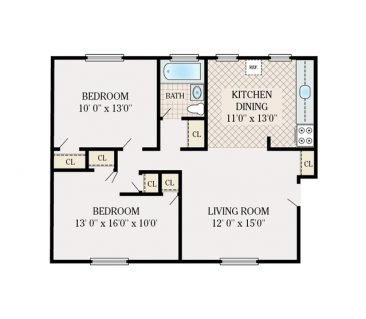 2 Bedroom 1 Bathroom. Deluxe 725 sq. ft.