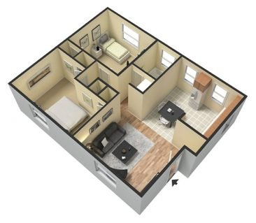 2 Bedroom 1 Bathroom. Deluxe 725 sq. ft. 3D Furnished