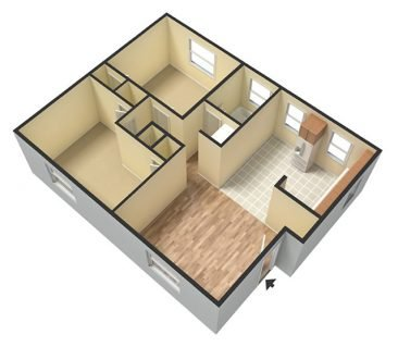 2 Bedroom 1 Bathroom. Deluxe 725 sq. ft. 3D Unfurnished